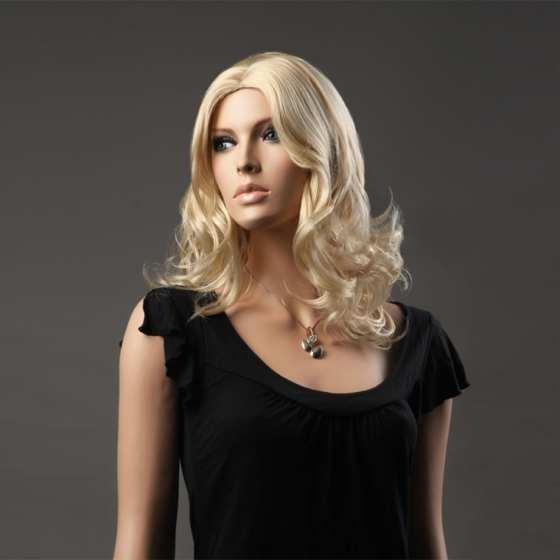 WOMAN'S WIG BLONDE MEDIUM LONG CURLY FASHION HAIR WIG FASHION(China (Mainland))