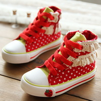 child canvas shoes polka dot  princess shoes kids  girls shoes boy single  shoes