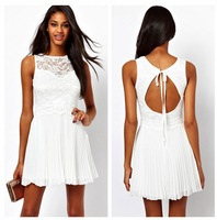 Fashion sleeveless o-neck embroidered repair racerback lace pleated dress,sexy women clothing