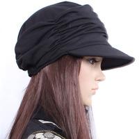 Hot Selling New Women Girl Fashion Design Drape Layers Beanie Casual Rib Hat Brim Visor Cap 4 Colors Drop Shipping HT-00529