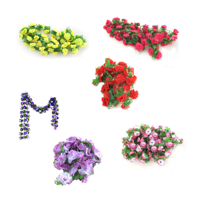 2013 New string artificial fake flowers vine ivy garland wall home floral decor HG-05342(China (Mainland))