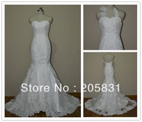 Free Shipping 2014 New arrival Mermaid White / Ivory Sweetheart Train Beading Tulle Lace Wedding Dresses WD0924 Real Photos
