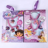 new 2014 Fashion jewelry cute Princess Dora jewelry sets children kid's necklace +Bracelets +Ring Gifts Boxset PAS-3060