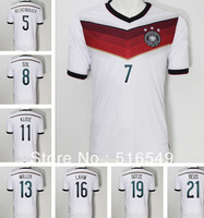 2014 world cup germany white soccer shirt 8 OZIL LAHM german soccer uniforms football cup 2014 Germany jersey 21 REUS TOP Thail