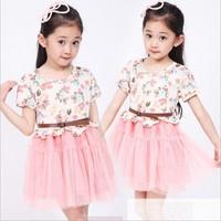 Free Shipping 1pc Retail girl princess dress floral short sleeve kids fashion knee-length dress spliced children summer  dress