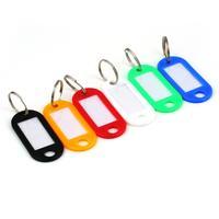 Hot!50pcs Label Name Tags Split Ring Plastic Keychain Key Cap Tags ID