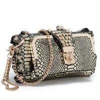 Chain Bag New snakeskin pattern clutches handbags,cowhide genuine leather shoulder bags, rhinestone wallet evening bag