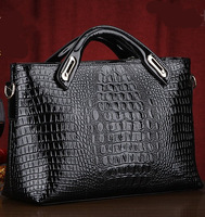 2014 crocodile pattern handbag European totes OL diagonal grade Europeanfashion women leather bags black red