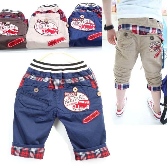 1pcs Retail kids pants 2014 children clothing Boys casual grid bottom pants Kids clothes 90 140cm