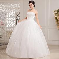 Free Shipping! 2014 New Arrival Luxury Paillette Slim Tube Top Princess Bride Wedding Dress