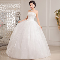 Free Shipping! 2014 New Arrival Luxury Paillette Slim Tube Top Princess Bride Wedding Dress
