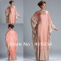 Dubai Caftan Applique Lace Long Coral Arabic Vestidos Events Dress Evening Dress Women Free Shipping WL276