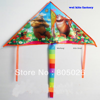 Free shipping lovely bear  kite 20pcs/lot nylon ripstop kite with control bar line kites flying toys hot sell wei kite factory