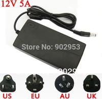 50PCS/lot  AC 100-240V DC 12V 5A 60W Power Supply Adapter Free Cord For 5050 5630 3528  LED Strip with  US,EU,UK,AU plug