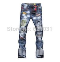 Wholesale 2014 New Men's Slim Fit Classic Jeans/Denim Trousers Straight Leg Blue  Hole Jeans Men ,29~36 Button,Free shipping