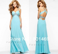 Dazzling 2014 Sea Blue Formal Evening Dresses Halter Top Beaded Cut Out Sexy Open Back Bodice Ruched Chiffon Prom Party Gown