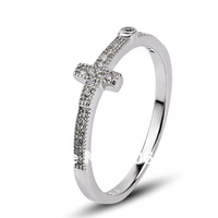GNJ0498 New Year 2014 Free shipping wedding ring for women Fashion 925 CZ  cross gorgeous rings 925 Sterling silver Jewelry,