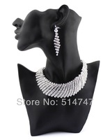 Fashion Austrian Crystal African Wedding Jewelry Set Statement Necklaces Earrings Sets for Bridal JS119