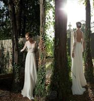 Best Selleing Amazing Design Appliqued Chiffon Long Sleeve Sheath Wedding Dresses Bridal Gowns Wedding Gowns Custom-made