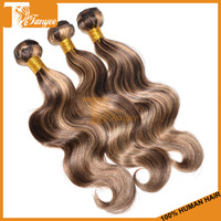 Free Shipping 5A Ombre Hair Extensions Brazilian Virgin Hair Body Wave Light Brown Color 4 27 Queen Human Hair Weave 3 Pcs Lot