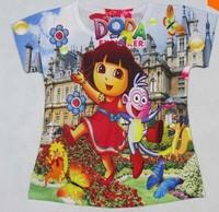 Hot Sale Dora Girls and Boys t Shirts Babys t Shirt Kids Cartoon DORA t Shirt Clothes for Children
