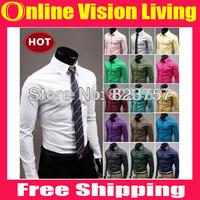 FREE SHIPPING 2014 Mens Slim fit Unique neckline stylish Dress long Sleeve Shirts Mens dress shirts 17colors 5Size: M-XXXL A0094