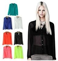 New 2014 Women's Candy Color Sexy Sheer Long-Sleeve Chiffon Blouse Button Down Shirt ,Free Shipping