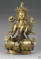 "bi00444 Tibetan Bronze 4-Hand Kwan-yin Buddha Statue Figure 7""H"