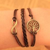 2014 European Fashion Retro Charm Braided Leather wish tree Infinity Bracelet