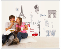New hot eiffel tower wall art sticker living room decor