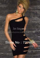 2014 New Arrival Women' s Women Sexy Tube Cut Out Black dress Mini Skrit Night Club Nightclub Clubwear Dress Drop Shipping J8871