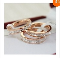 Sample order Free shipping single row of titanium steel rose gold diamond ring