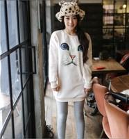 Free Shipping O-Neck Pullover Hoodie Women Oversized Plus Size Harajuku Blue Eyes Cat Printed Long Sweater shirt---H002