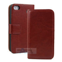 Brown Synthetic Leather Flip Wallet Stand Design Case for iPhone 5C Phone Bag Cover with Card Holde + Pen A164-Z