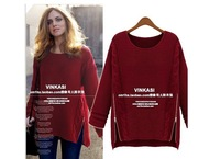 Free Shipping Fashion OT-090 2014 Women New Long Sleeve Pullovers celebrity style winter Zipper knitwear Sweater---H003