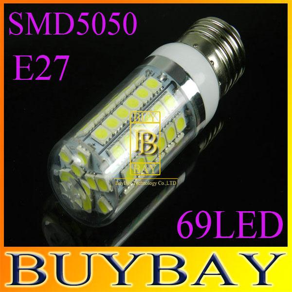 2pcs/lot 2014 new 69LEDs SMD 5050 15W E27 LED corn bulb lamp, Warm white / white,5050SM