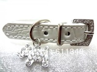 Free Shipping Pet Products Puppy Dog Cute Collars PU Leather with Rhinestone Charm White Small