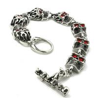59g Fashion Top Quality Skull With Ruby Eyes Bracelet 316L Stainless Steel Punk Amazing Design Cool Popular Gift Skull  Bracelet