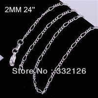 CC013-24 Promotion Special Fashion Silver jewelry,925 sterling silver jewelry,low price wholesale 5PCS 2mm chain necklace-24
