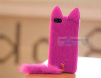 New 3D Elegant fashion Cute Fox Fur Rose Red Plush Mink Cat Soft Case Cover for Apple iPhone 4 4S Case + Pen A165-RO