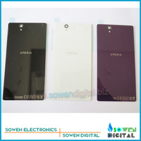 for Sony Xperia Z L36H L36i LT36h back cover back housing back glass panel, black or white or purple,Free shipping