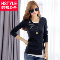 Hstyle 2014 spring women's o-neck faux two piece basic long-sleeve T-shirt ho3015