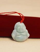 The love of natural green jade handmade sculpture jade buddha pendant necklace