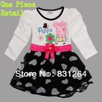 Free Shipping Peppa Pig Clothing Nova 18m~6y Kids Wear Children Clothing Embroidery Peppa Pig Baby Girls Full Sleeve Dresses