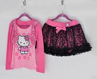 New wholesale sequins hello kitty 2 pcs baby girls clothes set (long t shirt+kids skirt) 5 set/lot