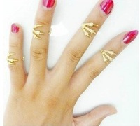 wholesale 18k gold & platinum punk dragon claws personality joint ring set per four pieces, good European American women jewelry