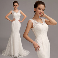 2014 Cheap price,best wedding dress,new arrival bride Sweet princess slim fish tail train lace wedding dress  8108#