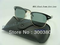 New 2013 Hot Sell Inspire Men Women Vintage Half Rim Metal Sunglasses Clubmaster 3016 Designer Glasses Black Free Shipping