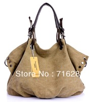 New 2014 women leather handbag shoulder bags women messenger bags totes canvas leisure vintage bag large capacity package