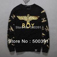 plus size Free shipping 2013 women boy london Black/WHITE Gold-Foil Letter Eagle print sweatshirt velvet hoodies